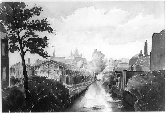 Aquarel van H.Dekker beeld gebied in 1967