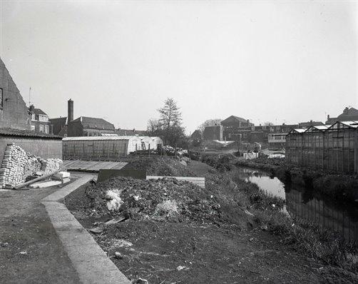 Kassen va de kwekerijen De Minstroom (links) en kwekerij Emmelot (rechts).1973